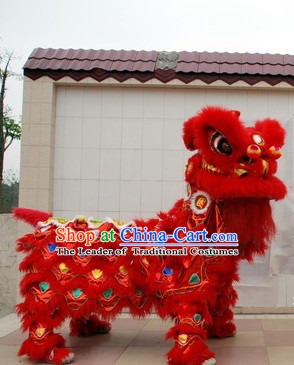 Red 2008 Beijing Olympic Games Opening Ceremony 100% Natural Long Wool Lion Dance Equipments Complete Set