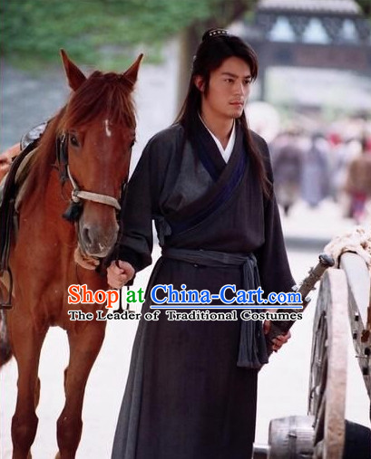 Ancient Chinese Traditional Dress Male Black Color Chinese Ancient Style Male Hanfu Clothes Complete Set