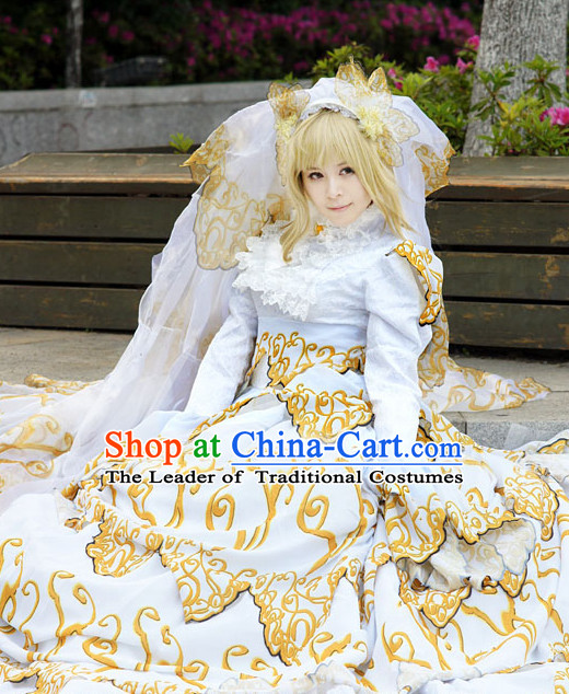 Custom Made Cosplay Wedding Costumes and Headwear Complete Set for Women or Girls