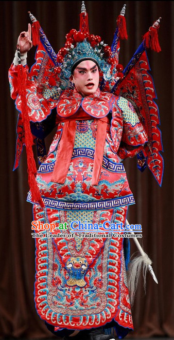 Chinese Beijing Opera Costumes Peking Opera Costume Wusheng Armor Complete Set for Men