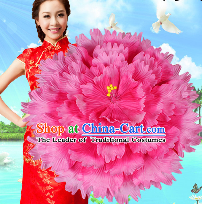 Rose Traditional Dance Props Flower Umbrella Dancing Prop Decorations for Men Women Adults