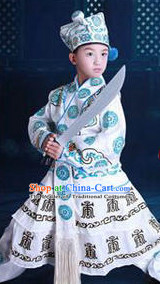 Chinese Traditional Wu Song Dress Clothing Hanfu National Costumes China Gown Wear and Hat Complete Set for Kids