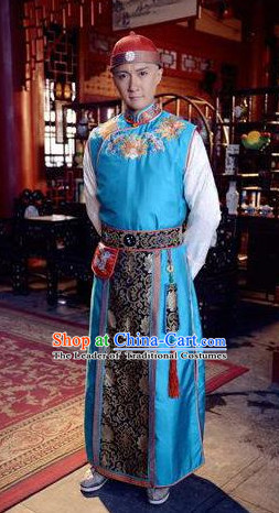 Qing Dynasty Chinese Kang Xi Emperor Garment and Hat Complete Set for Men