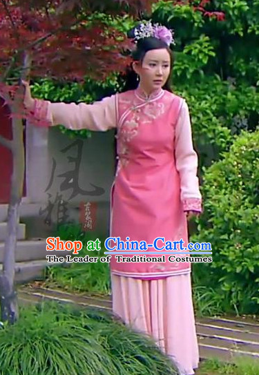 Qing Dynasty Chinese Imperial Palace Lady Garment and Hair Jewelry Complete Set for Women