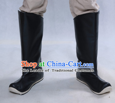 Chinese Ancient Style Black Handmade Leather Boots Shoes for Men