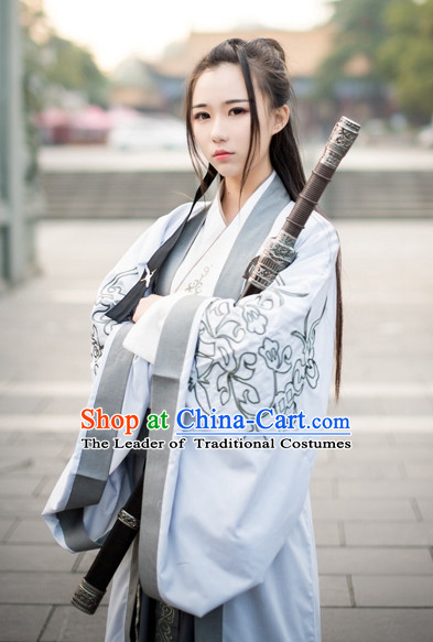 Traditional Chinese Ancient Han Dynasty Jiang Hu Swordswoman Costume Complete Set for Women