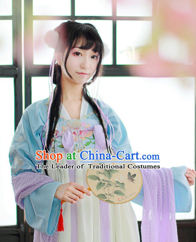 Traditional Chinese Tang Dynasty Hanfu Suit Clothing Dresses Skirt and Hair Jewelry Complete Set for Women