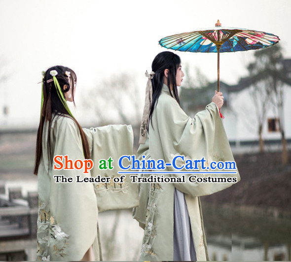 Traditional Chinese Ancient Han Dynasty Embroidered Clothing Complete Set for Women and Men