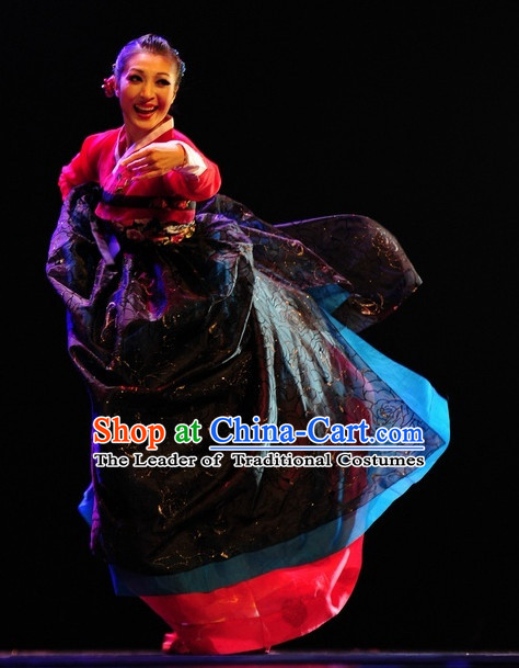 Korean Ethnic Traditional Dance Costume Folk Dancing Costumes Traditional Chinese Dance Costumes Asian Dance Costumes Complete Set for Women