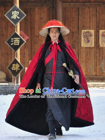 Ancient Chinese Style Bodyguard Lin Chong Superhero Costumes Clothing and Hat for Men