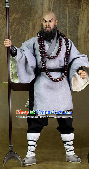 Ancient Chinese Style Lu Zhishen Superhero Costumes Clothing and Hat for Men