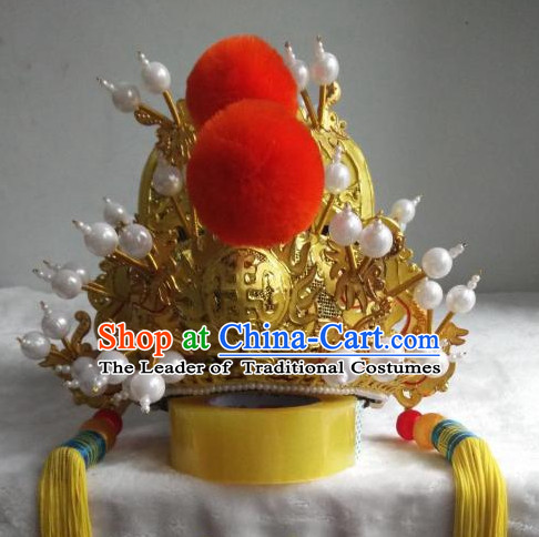Chinese Opera Peking Opera Famous Operas Beijing Opera Jingju Emperor Hat Headwear for Men Boys
