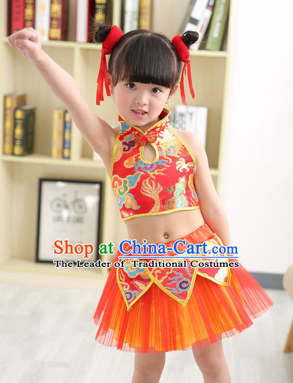 Chinese Theater Traditional Dance Ribbon Dancing Long Sleeve Leotard China Fan Dance Costume Complete Set for Kids Children Girls