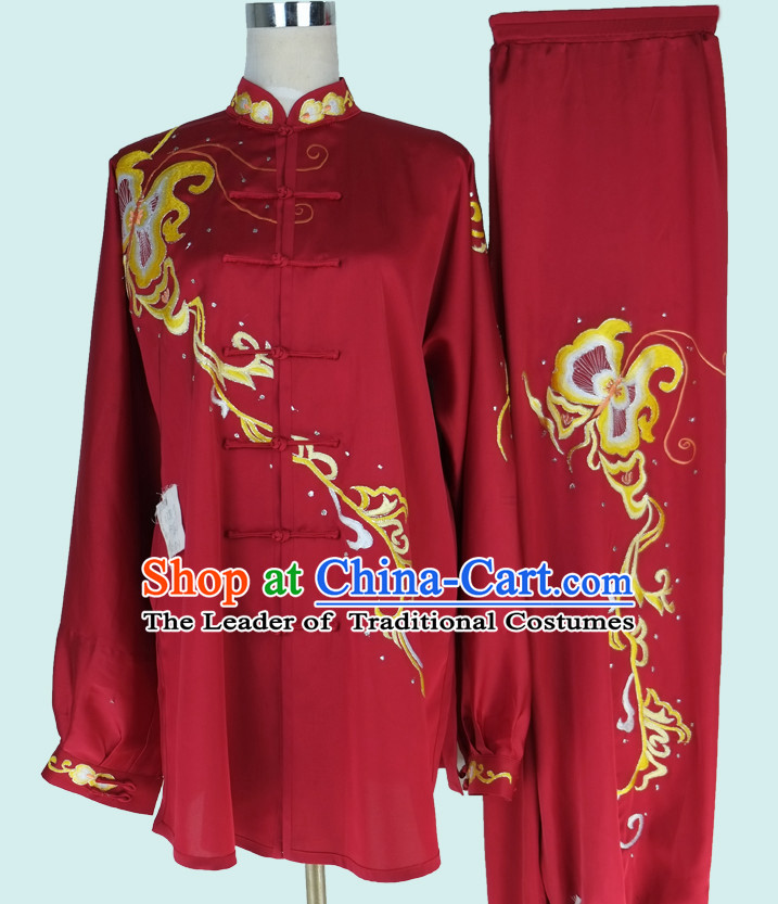 Asian Championship Embroidered Kung Fu Martial Arts Uniform Suit for Women Girls