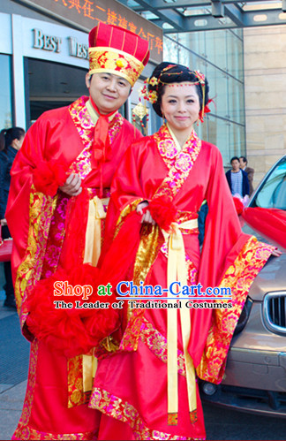 Traditional Chinese Wedding Dress Asian Clothing National Hanfu Costume Han China Style Costumes Robe Attire Ancient Dynasty Dresses Complete Set for Women and Men
