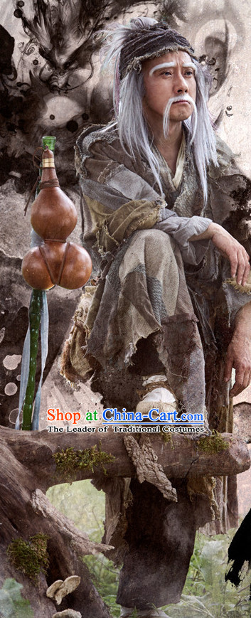 Chinese Ancient Beggar Group Costumes Clothing Complete Set for Men
