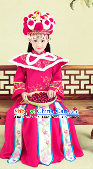 Chinese Traditional Stage Performance Costumes and Hat Complete Set for Kids
