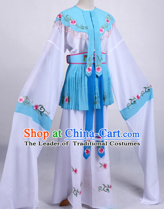 White Chinese Opera Costumes Huangmei Opera Stage Performance Costume Chinese Traditional Water Sleeve Costume Drama Costumes Complete Set