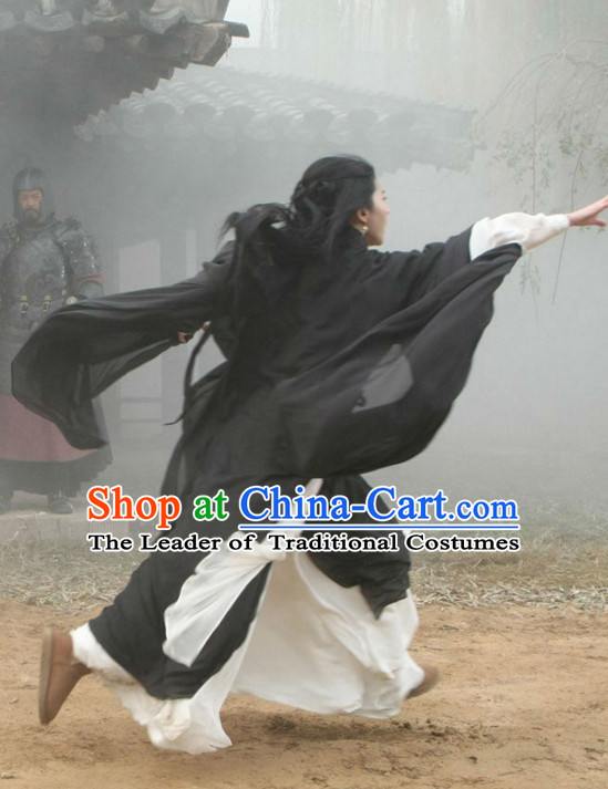 Ancient Chinese Beauty Black White Hanfu Han Fu Clothing Complete Set