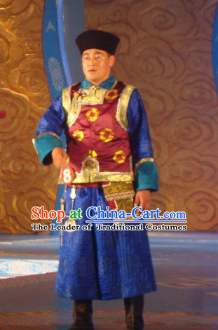 Chinese Traditional Ethnic Mongolian Emperor Dresses Wear Clothing and Hat Complete Set for Men