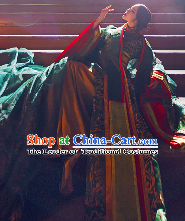 Chinese Ancient Princess Hanfu Clothing Empres Garment and Hair Accessories Complete Set for Women