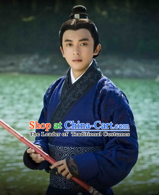 Ancient Chinese Men's Clothing & Apparel Chinese Traditional Dress Theater and Reenactment Costumes Complete Set for Men