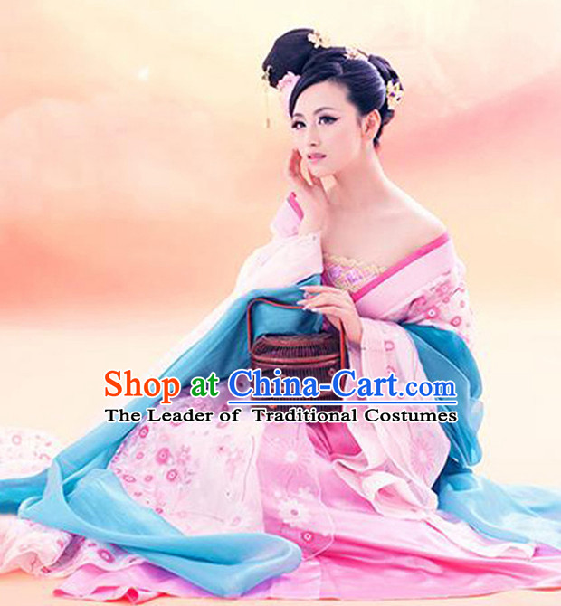 Chinese Ancient Women's Clothing & Apparel Chinese Traditional Dress Theater and Reenactment Costumes and Headwear Complete Set