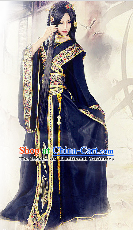 Chinese TV Drama Costume Ancient Theatrical Costumes Historical Clothing and Hair Accessories Complete Set for Women