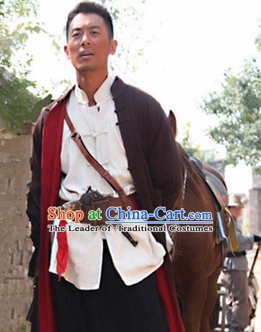 Chinese Liberation Men Traditional Dress Theater and Reenactment Clothes Complete Set
