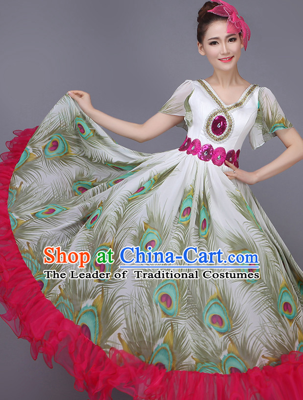 Chinese Peacock Dance Costume Dance Costumes Fan dance Umbrella Ribbon Fans Water Sleeve Dancer Dancing Costumes Complete Set