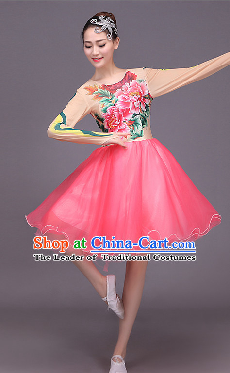 Chinese Ballet Style Flower Dance Costume Dance Costumes Fan dance Umbrella Ribbon Fans Water Sleeve Dancer Dancing Costumes Complete Set