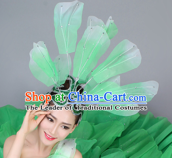 Green Chinese Dance Hair Accessories Headpiece Headdress Phoenix Crown Hair Decoration Head Hairpin Accessories Comb Wedding Headwear Hair Accessorie Head Dress