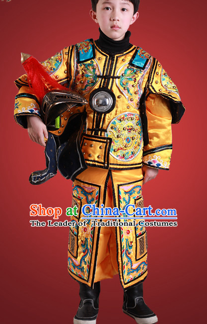 Ancient Chinese Children General Costume Armor Costumes and Hat Complete Set