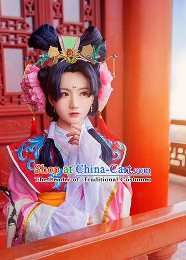 Chinese Ancient Lady Princess Handmade Wig and Hair Accessories Set
