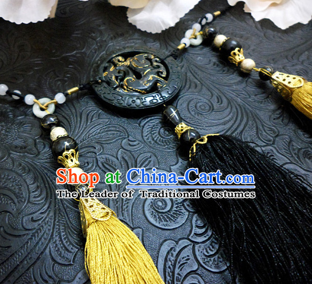 Chinese Ancient Style Black Jade Belt Decorations Jewelry