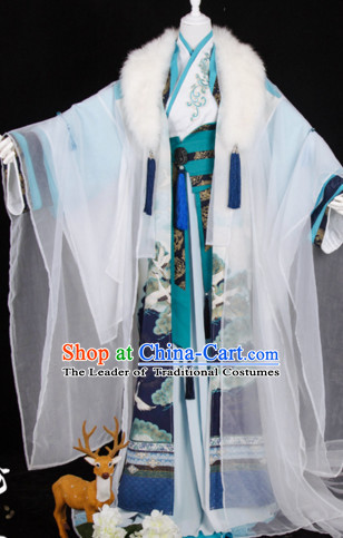 Ancient Chinese Prince Court Dresses Hanzhuang Han Fu Han Clothing Traditional Chinese Dress Hanfu National Costumes and Hair Jewelry Complete Set for Women or Girls