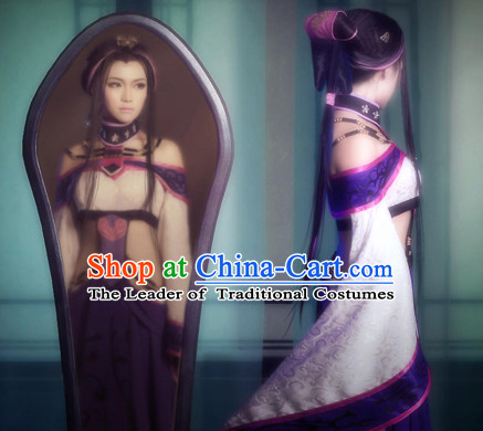 Ancient Chinese Sexy Hanfu National Costumes and Headpieces Complete Set for Women