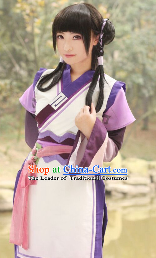 Ancient Chinese Knight Cos Hanfu National Costumes and Headpieces Complete Set for Women