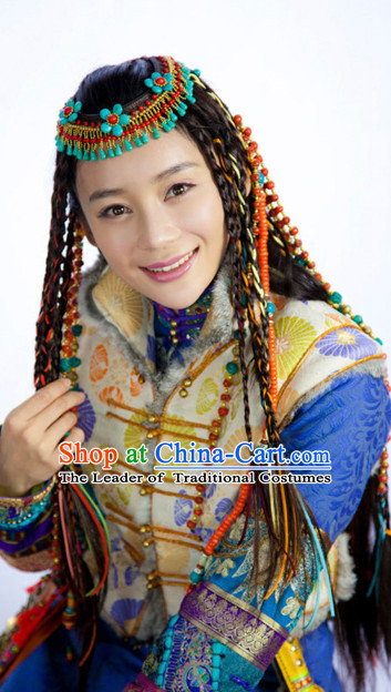 Chinese Qing Mongolian Princess Black Long Wigs and Headwear Headgear Hair Jewelry Hairpieces Set