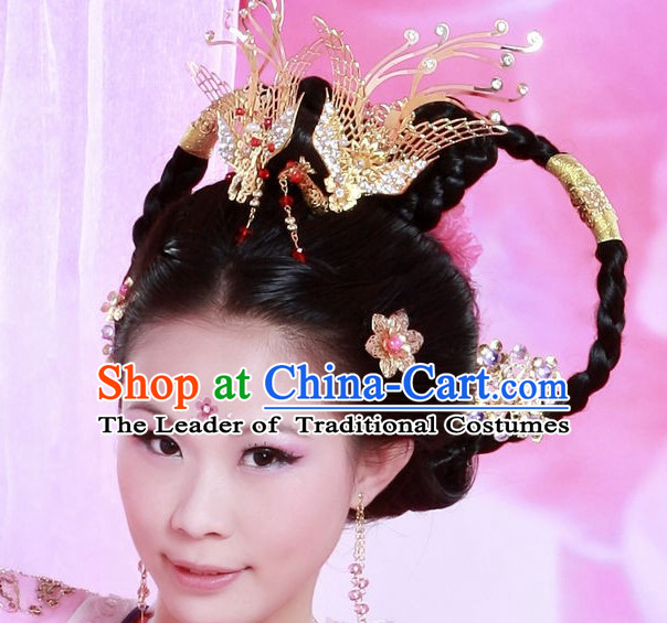 Chinese Princess Wigs and Phoenix Hair Headwear Crowns Hats Headpiece Hair Accessories Jewelry