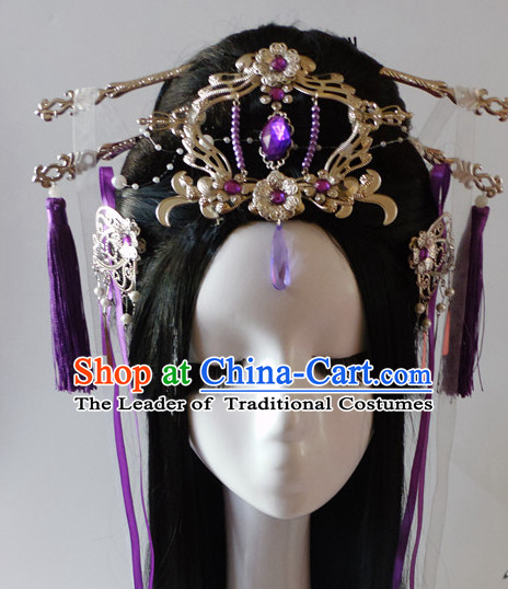Purple Chinese Classical Fairy Headwear Crowns Hats Headpiece Hair Accessories Jewelry Set