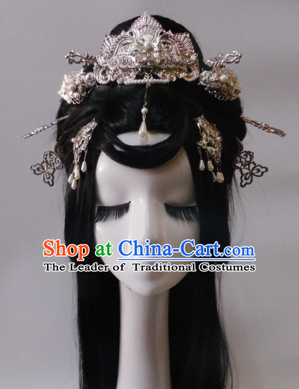 Silver Chinese Classical Fairy Long Wigs and Headwear Crowns Hats Headpiece Hair Accessories Jewelry Set