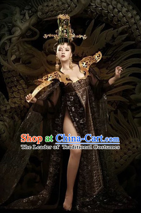 Chinese Tang Dynasty Palace Women Clothing and Hair Ornaments Complete Set