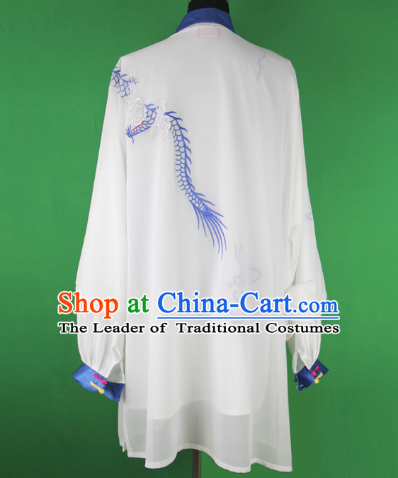 White Dragon Chinese Kung Fu Tai Chi Wushu Shaolin Uniform Wudang Uniforms Wu Shu Nanquan Kungfu Changquan Costume Uniform Martial Arts Tai Chi Taiji Uniforms