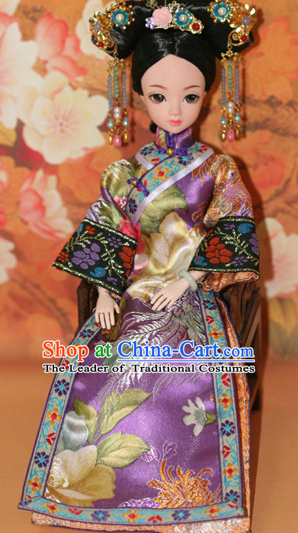 Traditional Qing Dynasty Chinese Clothing Imperial Dresses National Costume and Hairpins Complete Set for Women