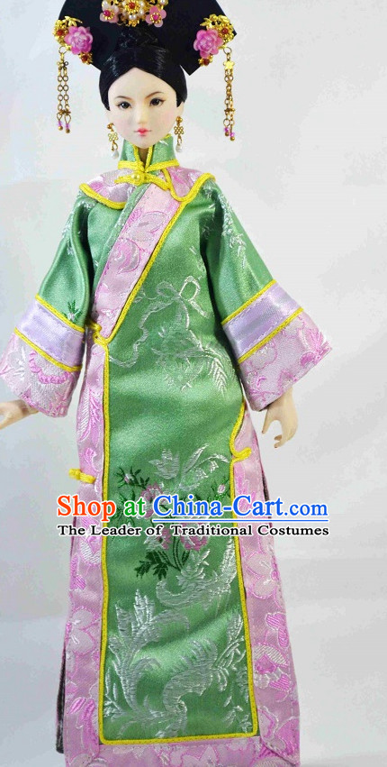 Traditional Qing Dynasty Chinese Women Empress Clothing Imperial Princess Dresses National Costume and Hair Ornaments Complete Set