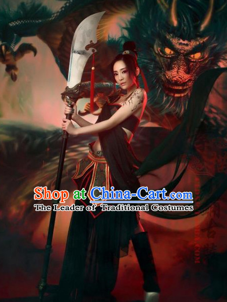 Chinese Ancient Sexy Knight Cosplay Costumes and Hair Ornaments Complete Set