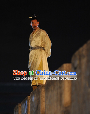 Chinese Ancient Tang Dynasty Emperor Pajamas Sleepcoat Nightgown Complete Set for Men