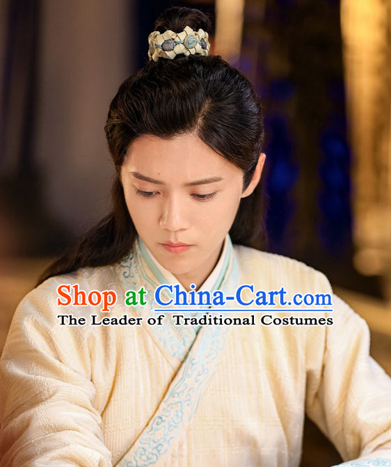 Chinese Ancient Male Long Black Wigs