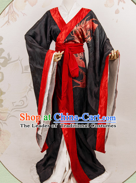 Chinese Black Hanfu Fairy Robe Clothing Handmade Bjd Dress Opera Costume Drama Costumes Complete Set